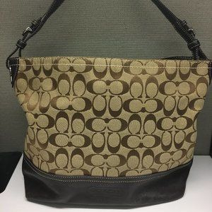 Coach E061-2156 Brown Tan Fabric Hobo Bag